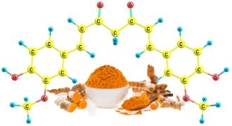 Turmeric subsoil stems>powder>curcumin molecule